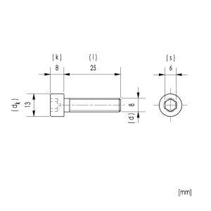 10x M8x25 Zylinderkopfschrauben