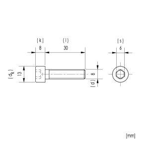 10x M8x30 Zylinderkopfschrauben